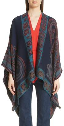Etro Geo & Floral Wool Blend Jacquard Cape
