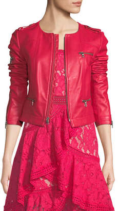 Alice + Olivia Zip-Front Leather Biker Jacket