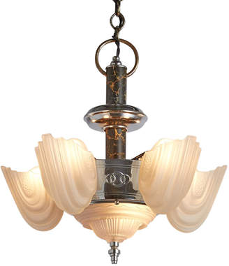 Rejuvenation Six-Light Slipper Shade Fixture w/ Faux Marble Column