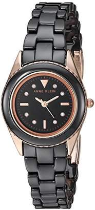Anne Klein Women's AK/3164BKRG Swarovski Crystal Accented Rose Gold-Tone and Black Ceramic Bracelet Watch