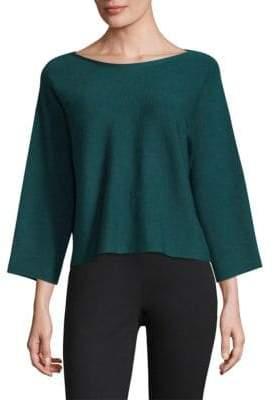 Eileen Fisher Boatneck Slit-Sleeve Wool Top