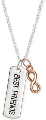 "Unwritten Two-Tone ""Best Friends"" Bar & Infinity 18"" Pendant Necklace in Sterling Silver & Rose Gold-Flash"