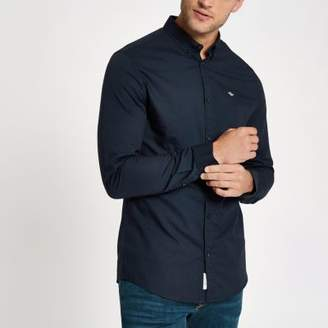 River Island Navy embroidered long sleeve Oxford shirt
