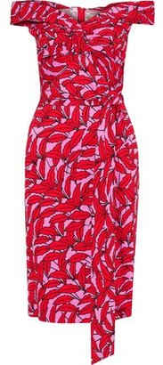 Diane von Furstenberg Delphine Off-the-shoulder Twist-front Printed Stretch-jersey Dress