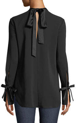 Contemporary Designer Costello Mock-Neck Long-Sleeve Tunic with Ties