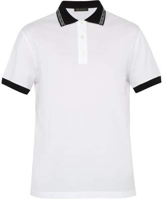 Versace Baroque Collar Cotton Polo Shirt - Mens - White Multi