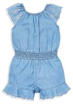 51230760579d Little Me Baby Girl s Cap-Sleeve Chambray Romper