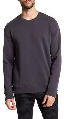 Vince Side Zip Long Sleeve Crew Neck Sweater