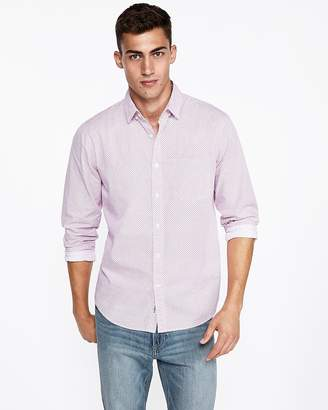Express Classic Micro Floral Soft Wash Button-Down Shirt