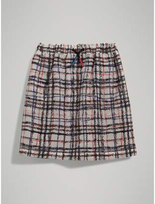 Burberry Scribble Check Gathered Silk Skirt