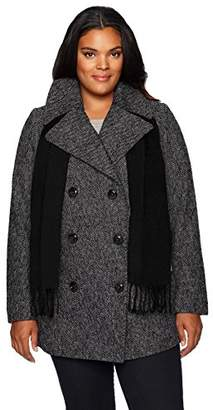 London Fog Women's Double Breasted Peacoat with Scarf,S