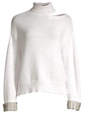 Alice + Olivia Gemini Turtleneck Cut-Out Sweater