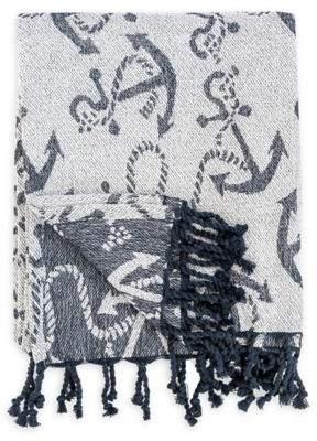 Bed Bath & Beyond Chenille Anchor Throw Blanket in Navy