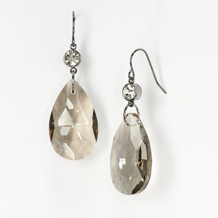 Vera Wang Simply vera jet simulated crystal & bead teardrop earrings
