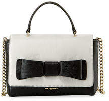 Karl Lagerfeld Paris Bobbi Bow Pebble Leather Crossbody Satchel Bag