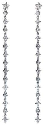 Kenneth Jay Lane CZ By Floral CZ Accented Linear Drop Earrings
