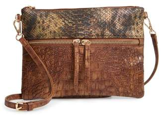 Sondra Roberts Embossed Faux Leather Crossbody Bag