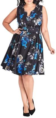 City Chic Chic Chic Bouquet Sleeveless Fit & Flare Dress