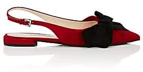 Prada Women's Bow-Embellished Suede Slingback Flats - Rosso+Nero