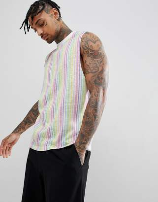 Asos Design Sleeveless T-Shirt With Dropped Armhole And Pastel Vertical Stripes In Linen Look Fabric