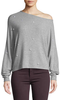 Generation Love Jenny Pearl-Studded One-Shoulder Long-Sleeve Top