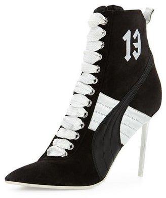 Fenty Puma by Rihanna Suede 105mm Sneaker Bootie, Black/White $600 thestylecure.com