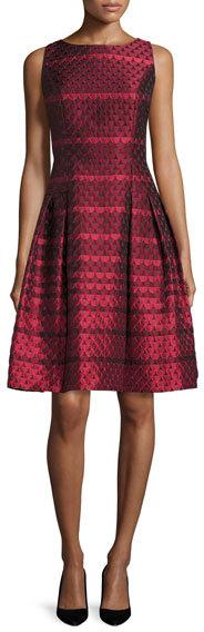 Carmen Marc ValvoCarmen Marc Valvo Sleeveless Scalloped Jacquard Cocktail Dress, Red