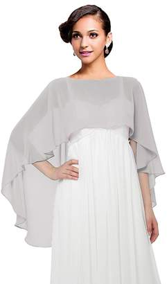 Baiqiya Wedding Capes Womens Soft Chiffon Shrug Bridal Long Shawl and Wraps (#Navy Long)
