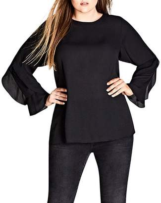City Chic Plus Ruffle-Sleeve Top