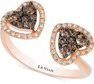 LeVian Le Vian Chocolatier Chocolate Deco Estate Diamond Double Heart Open Ring (1/2 ct. t.w.) in 14k Rose Gold