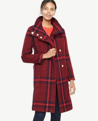 Ann Taylor Tall Plaid Funnel Neck Coat