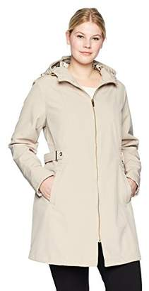 Via Spiga Women's Plus Size Zip Front Hooded Walker Coat with Leopard Fleece Lining