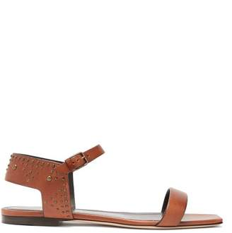 Saint Laurent Farrah Studded Leather Sandals - Womens - Tan