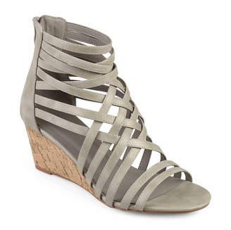 Journee Collection Womens Twyla Pumps Zip Open Toe Wedge Heel