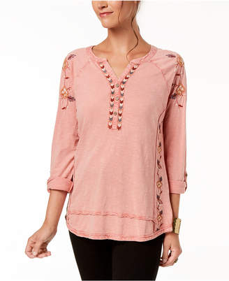 Style&Co. Style & Co Embroidered Cotton Henley Top, Created for Macy's