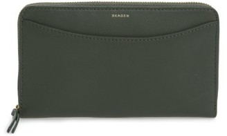 Women's Skagen Leather Continental Wallet - Green $95 thestylecure.com