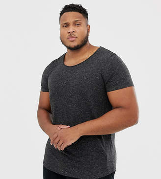 Asos DESIGN Plus longline t-shirt with raw scoop neck and curve hem in linen mix in black