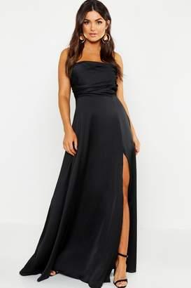 boohoo Satin Bandeau Maxi Dress
