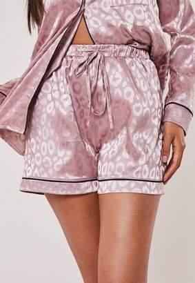 Missguided Premium Pink Animal Print Jacquard Pyjama Shorts