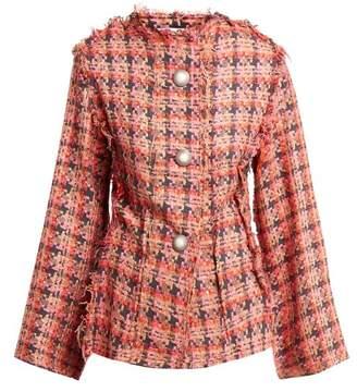 Matty Bovan - Raw Edge Tweed Jacket - Womens - Pink Multi