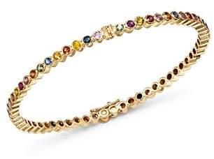 Shebee 14K Yellow Gold Multicolor Sapphire Infinity Bangle Bracelet