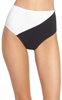 Diane von Furstenberg Paneled High Waist Bikini Bottoms