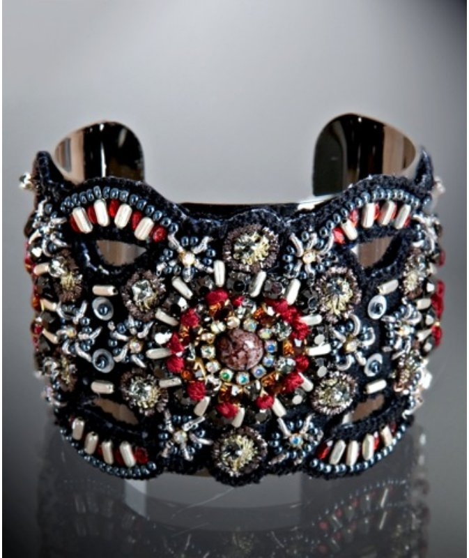 A.V. Max black embroidered, bead, and sequin wide cuff