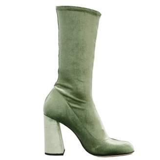 Juliana Herc High Ankle Boot In Green Velvet