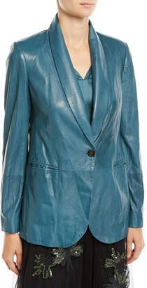 Brunello Cucinelli Shawl-Collar One-Button Leather Blazer w/ Monili Trim