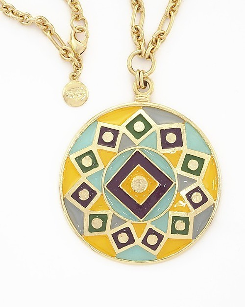 Isaac Manevitz for Ben-Amun Round Enamel Pendant