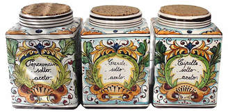 One Kings Lane Vintage Italian Majolica Spice Canisters - Set of 3 - Laurie Frank