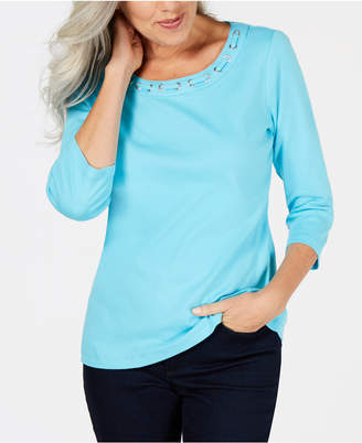 Karen Scott Cotton Lace-Through-Neck Top