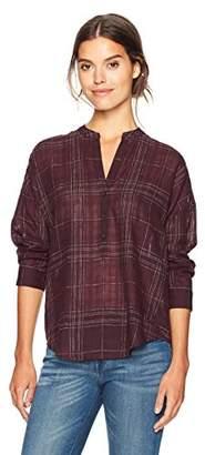 Lucky Brand Women's Burgundy Plaid Shirt