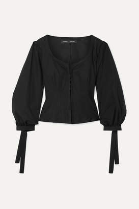 Proenza Schouler Tie-detailed Stretch-cotton Poplin Top - Black